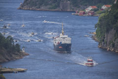 Nrk are sailing with the old ms ragnvald jarl, in ringdalsfjord Stock Photo
