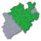 NRW和西华里亚的地图 库存照片