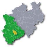 NRW mapa z Rhineland i Kolonia Zdjęcia Stock