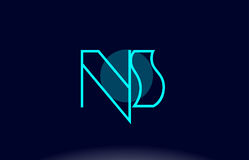 ns n s blue line circle alphabet letter logo icon template vecto Royalty Free Stock Image