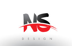 NS N S Brush Logo Letters with Red and Black Swoosh Brush Front Stock Photo