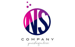 NS N S Circle Letter Logo Design with Purple Dots Bubbles Royalty Free Stock Photos