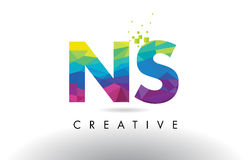 NS N S Colorful Letter Origami Triangles Design Vector. Stock Photos