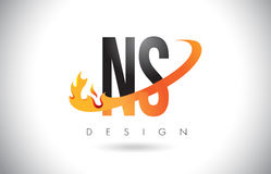 NS N S Letter Logo with Fire Flames Design and Orange Swoosh. Stock Photography