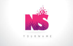 NS N S Letter Logo with Pink Purple Color and Particles Dots Des Stock Photography