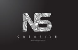 NS N S Letter Logo with Zebra Lines Texture Design Vector. Royalty Free Stock Photos