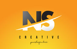 NS N S Letter Modern Logo Design with Yellow Background and Swoo Stock Images