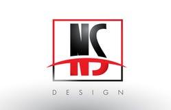 NS N S Logo Letters avec des couleurs et le bruissement rouges et noirs Images stock