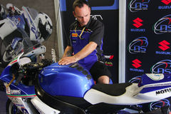 NS Suriano Corse Suzuki GSX-R 600  in Supersport championship WSS Royalty Free Stock Photography