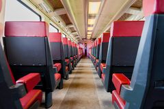 NS train inside entrance to the train car first class. Nederlandse Spoorwegen Dutch Railways or NS is the principal passenger railway operator in the Netherlands stock photography