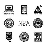 NSA Icons. A set of anti NSA (National Security Agency) icons Stock Photo