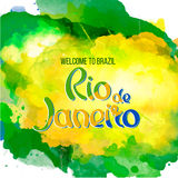 Nscription Rio de Janeiro Brazil vacation. Inscription Rio de Janeiro Brazil vacation on a background watercolor stains,colors of the Brazilian flag, Brazil Stock Photo