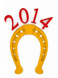 Nscription with the symbol of a gold horseshoe. 2014 new year of the horse. inscription with the symbol of a gold horseshoe for good luck Stock Photo