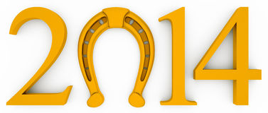 Nscription with the symbol of a gold horseshoe. 2014 new year of the horse. inscription with the symbol of a gold horseshoe for good luck royalty free illustration