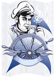 Nseaman. The old seaman in a peak-cap stands behind a hand-wheel and smokes Royalty Free Stock Images