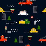 Seamless pattern: transport: taxi, ambulance, fire, truck, trees, houses, signs on a dark background. Flat vector. Illustration. stock illustration