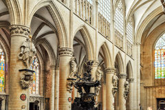 Nside Cathedral of St. Michael and St. Gudula  is a Roman Catholic church in Brussels Stock Photos