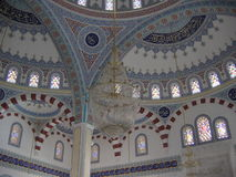 Nside a mosque in Turkey. Decorations on walls inside a mosque in Turkey royalty free stock image
