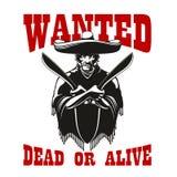 Önskad affisch med den farliga mexikanska banditen Arkivfoto