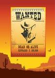 Önskad affisch på löst västra amerikanskt ökenlandskap Arkivbild