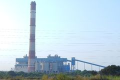 NSPCL Bhilai Power Plant, Bhilai. Chhattishgarh. The NSPCL Bhilai Power Plant is a coal-fired captive power station at Bhilai in Durg district, Chhattisgarh Stock Photo