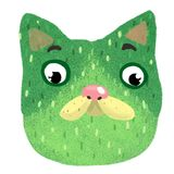 Funny face of a green cat. Nsticker of a brooding green cat that looks down Stock Photography