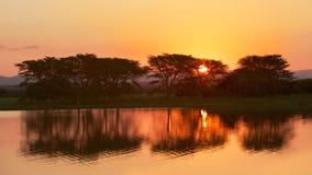 Nsumo Pan Sunset. Sunset at Nsumo Pan, uMkhuze KZN Park, KwaZulu-Natal, South Africa Stock Photos