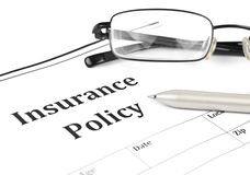 Nsurance policy form. On desk in office showing risk concept. Life; Health, car, travel, for background Stock Photos
