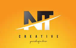 NT N T Letter Modern Logo Design with Yellow Background and Swoo. NT N T Letter Modern Logo Design with Swoosh Cutting the Middle Letters and Yellow Background Stock Image