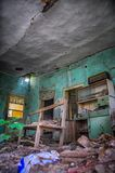 An old abandoned house. nterior of Abandoned House with Broken Walls Royalty Free Stock Image