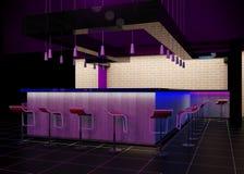Nterior av en modern stång i nattklubben Arkivbild