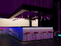 Nterior av en modern stång i nattklubben Royaltyfri Foto