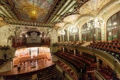 Nterior av slotten av Catalan musik i Barcelona Royaltyfri Foto