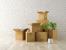 Interior with packed cardboard boxes for relocation 3D rendering Royalty Free Stock Image