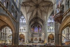 Free Nterior View Of Cathedral Of Saint-Etienne Metz Lorraine Moselle France With Unidentified People Stock Images - 160663544