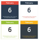 Nternational Day of Zero Tolerance to Female Genital Mutilation. 4 isolated calendar sheets in different color schemes for 6th February, International Day of royalty free illustration