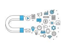 Nternet de entrada del márketing de negocio del diseño del icono de las cosas libre illustration