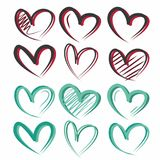 Original, creative, cute and bright hearts of different colors. Nthese lovely hearts are suitable for postcards, for the background, for packing your gift. it Royalty Free Illustration