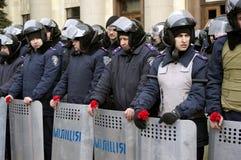 Аntiauthority protest i Kharkiv, Ukraina Arkivbilder