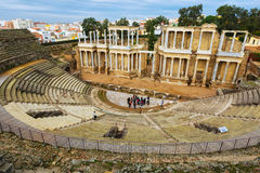 Ntique罗马剧院在梅里达 免版税库存图片