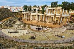 Ntique Roman Theatre i Merida Royaltyfria Bilder