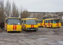 Ntone'tsk, Ουκρανίας - 11 Απριλίου, 2014: Σωτήρες λεωφορείων στο ορυχείο ν Στοκ Φωτογραφίες
