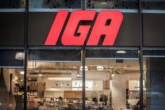 Ntrance van IGA Supermarket met zijn embleem Ook genoemd geworden Onafhankelijke Kruideniers Alliance, is het één van hoofd Ameri stock foto's
