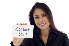 ¡Éntrenos en contacto con! Imagen de archivo libre de regalías