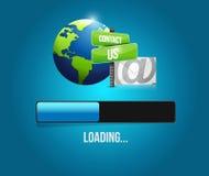 éntrenos en contacto con ejemplo de la muestra de la barra de cargamento del correo Imagen de archivo libre de regalías
