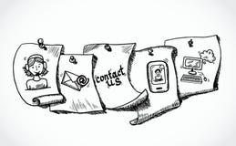 Éntrenos en contacto con el bosquejo de papel de las etiquetas de los iconos Imágenes de archivo libres de regalías