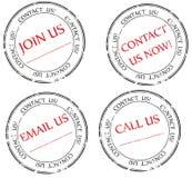 Éntrenos en contacto con, envíenos por correo electrónico, ensámblenos mensaje en sello Imagen de archivo libre de regalías