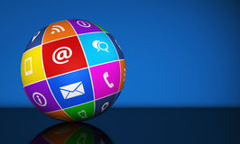 Éntrenos en contacto con globo de los iconos del web Imágenes de archivo libres de regalías