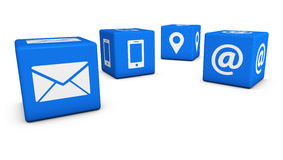 Éntrenos en contacto con los cubos del icono del web Imágenes de archivo libres de regalías
