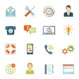 Éntrenos en contacto con los iconos de la atención al cliente fijados Foto de archivo